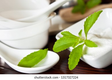 Stevia sweetener powder and fresh leaves in the kitchen