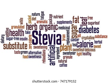 Stevia, word cloud concept on white background.