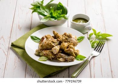 stew chicken with pesto sauce