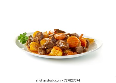 Stew Meat with carrots isolated on white background