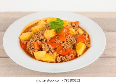 stew with minced meat and vegetables in a bowl