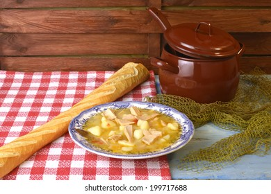 Stew potatoes and fish, marmite or marmitako traditional Spanish stew
