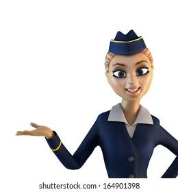Stewardess. 3d cartoon character. Illustration