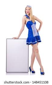 Stewardess with blank board on white