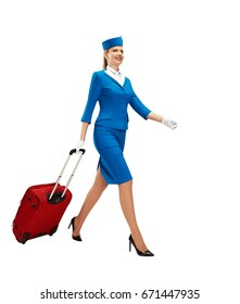 The stewardess goes and rolls her suitcase. White background.