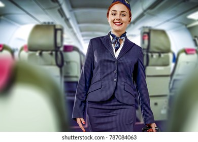 Stewardess in plane and travel time