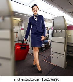stewardess woman in plane