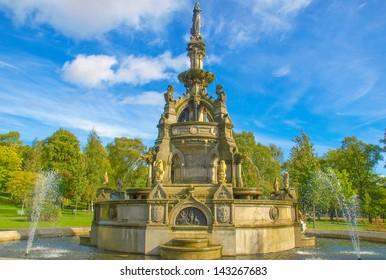 The Stewart Memorial Fountain in Kelvingrove Park in Glasgow West End, Scotland