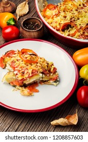 Stewed, baked zucchini, tomatoes and peppers.Vegetable casserole.Traditional French food