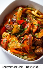 Stewed beef and pasta and vegetable