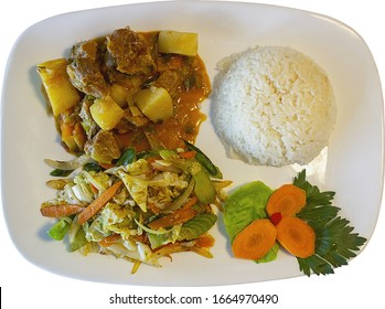 Stewed meat with rice and vegetables