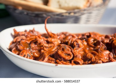 "Stewed musky octopus with tomatoes (italian recipe called ""moscardini in umido"")"