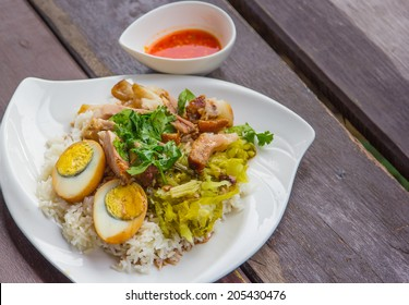 stewed pork leg on rice and boiled egg