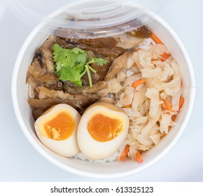 Stewed pork leg on rice; fresh ham on rice