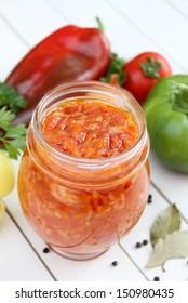 Stewed vegetables in jars