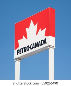 STEWIACKE, CANADA - JANUARY 07, 2016: Petro-Canada fuel station sign. Petro-Canada was an oil and gas industry crown corporation of Canada. In 2009, Petro-Canada and Suncor energy merged.