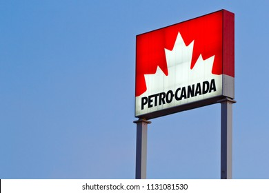 STEWIACKE, CANADA - JULY 9, 2018: Petro-Canada fuel station sign. Petro-Canada was an oil and gas industry crown corporation of Canada. In 2009, Petro-Canada and Suncor energy merged.