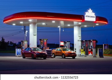 STEWIACKE, CANADA - JULY 9, 2018: Petro-Canada fuel station. Petro-Canada was an oil and gas industry crown corporation of Canada. In 2009, Petro-Canada and Suncor energy merged.