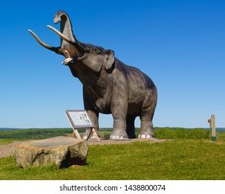 Stewiacke, Canada - June 25, 2019: Mastodon Ridge display. Stewiacke is a small rural town in Nova Scotia.