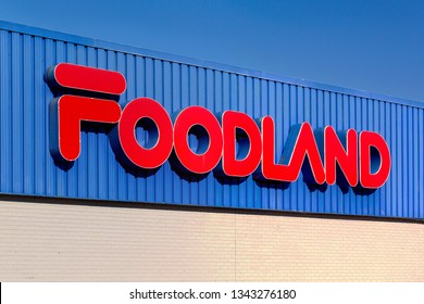 Stewiacke, Canada - March 19, 2019: Foodland store sign. Foodland is a group of grocery stores owned by Sobeys. Foodland is found mostly in rural Nova Scotia, New Brunswick, Newfoundland and Ontario