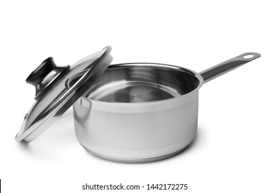 Stewing pan with glass lid on white background