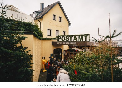 Steyr, Austria - December 2018: Entrance to the Christmas Post Office in Steyr known as Christkindl Post Office