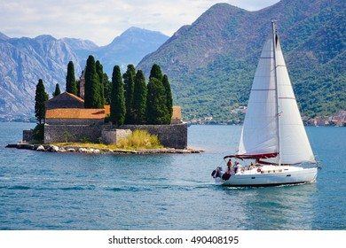 St.George Island in Montenegro and sailing yacht