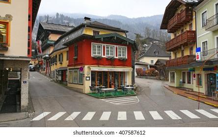 ST.GILGEN, AUSTRIA - FEBRUARY, 25. Snowfall in the picturesque village Sankt Gilgen on February 25, 2016 in the Austrian state of Salzburg. Austria.