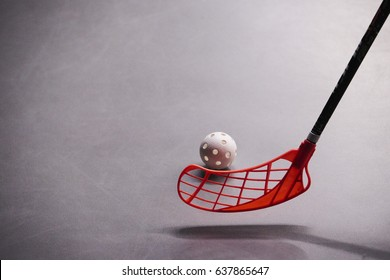 Stick and ball games in floorball.