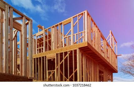 A stick built house under construction