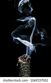 A Stick of Burning Buffalo Sage with Beautiful Flowing Smoke on a Black Background