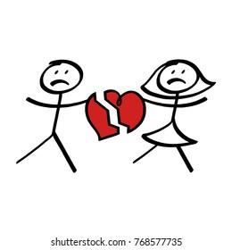 Stick figure couple with broken heart; Love break up symbol