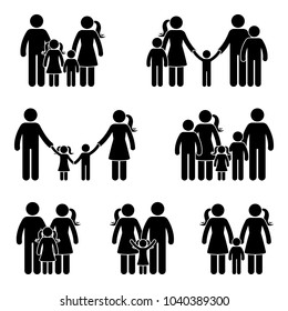 Stick figure family icon set. Illustration of people in different age on white