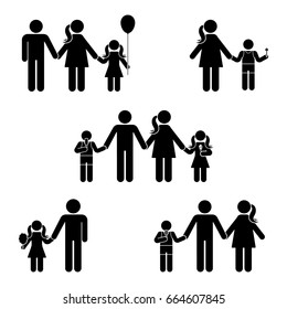 Stick figure family icon set. Posture illustration of standing man woman offspring symbol sign pictogram on white