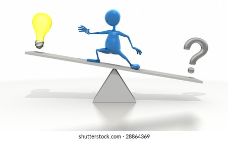Stick figure standing on SeeSaw with light bulb and question mark