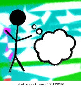 Stick figure thought bubble oil-painted abstract effect
