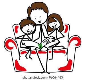 Stick figures: Father reading with 2 children