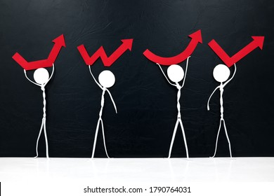 Stick man figures holding different rebound arrow shapes. Covid-19 pandemic crisis economic recovery concept.