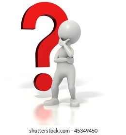 Stick man standing in front of a question mark thinking. Isolated on white with a clipping path.