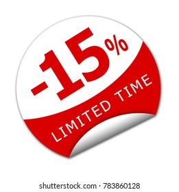 Sticker fifteen percent off for a limited time. 3D Illustation.