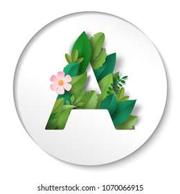 Sticker with letter A of leaves. Paper cut art.