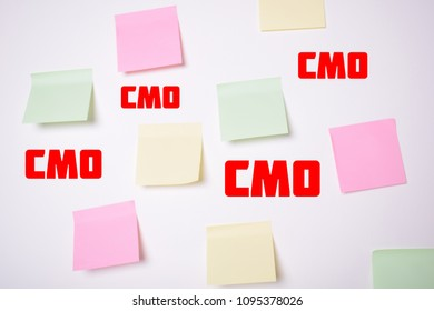 Stickers on the wall with the inscriptions:CMO