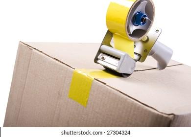 Sticking the box isolated on white background