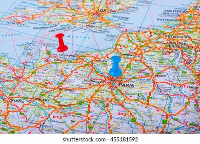 Paris On Map Of France.Map Pin Point Paris France Stock Photo Edit Now 275286314