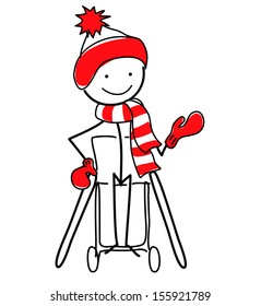 Stickman in wheelchair wearing hat, mittens and scarf