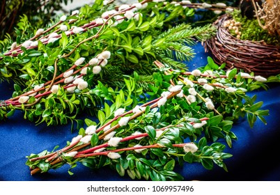 sticks decorated with various twigs for palm sunday processions
