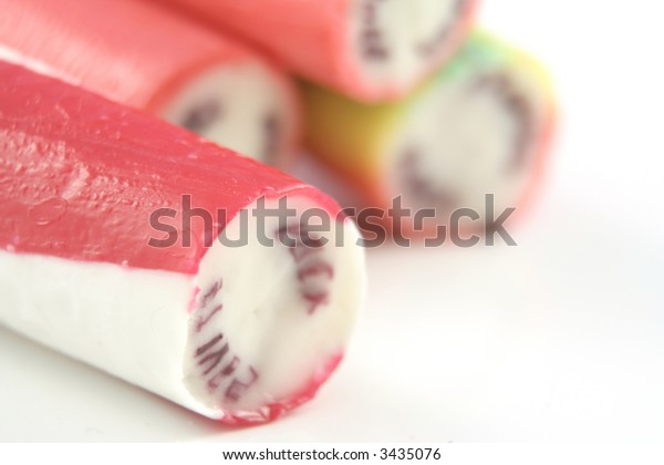 sticks of rock on a white background