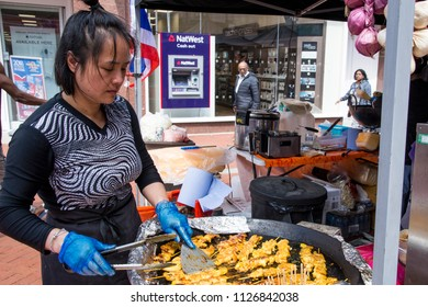 Sticky Asian Chicken Skewers - Food Street Market Reading, United Kingdom - June, 2nd, 2018