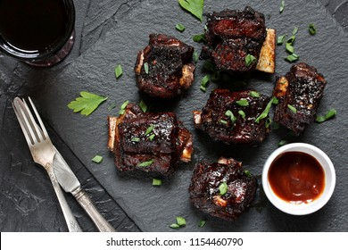 STICKY BEEF SHORT RIBS. Sweet BBQ . Flatlay.