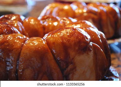 Sticky Buns Monkey Bread Sweet Rolls Made In Bundt Pan Ring With Sugary Syrup